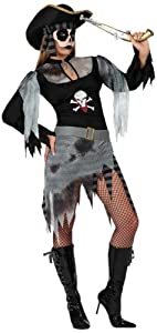 Atosa-14943 Disfraz Pirata Zombie, color gris, Medium/Large (14943)