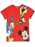 Disney Maglietta per Ragazzi Topolino Paperino e Goofy Rosso 2-3 Anni