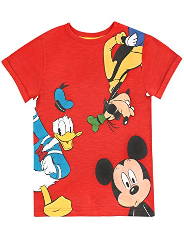 Disney Jungen Mickey Mouse Donald Duck Goofy T-Shirt Rot 128 - Mickey Mouse T-shirt Top
