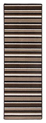 Andiamo 1100305 Teppich Plano, Läufer mit Streifen, 65 x 200 cm, beige / braun