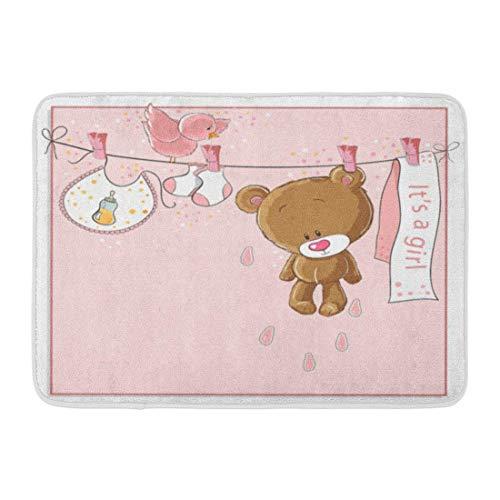 artyly Anti-Rutsch-Fußmatten für drinnen und draußen, Bär-It-Mädchen, Baby, Ankündigung, Raster, Geburt, Teddybär, niedlich, langlebig, 60 x 40 cm