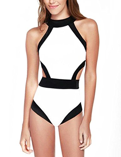 CIDEARY Tankini Cut Out Einteilig Badeanzug Vintage Schwarz und Weiß Monokini (L (DE 36-38), Weiß) (Weißer Monokini Bademode)