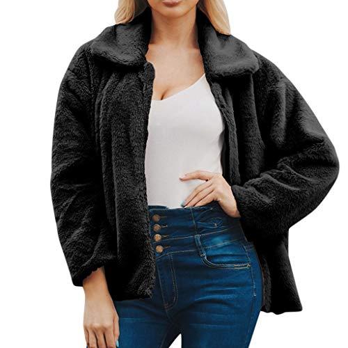 BOLANQ Plüschmantel Mantel, Damen Damen warme Faux Wollmantel Jacke Winter solide Reißverschluss Oberbekleidung(XX-Large,Schwarz)