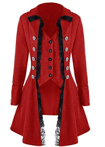 LCXYYY Damen Gothic Mittelalter Mantel Schwalbenschwanz Vintage Frack Jacke Gothic Victorian Kleid schwarz Steampunk Coat Uniform Kostüm Vampir Cosplay Verkleidung - Rote Smoking Jacke Kostüm