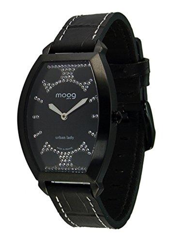 Moog Paris Urban Lady Montre Femme avec Cadran Noir, Eléments Swarovski, Bracelet Noir en Cuir Véritable - M45052-006