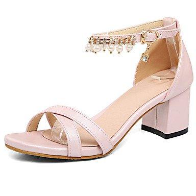 LvYuan Damen-Sandalen-Büro Kleid Lässig-Kunstleder-Blockabsatz-Komfort-Blau Rosa Weiß Blue