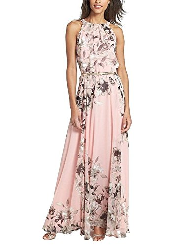 Minetom Donna Vestito Lungo di Chiffon Stampa Fiore Collare del Halter Senza Maniche Boho Abito da Maxi Pink IT 42