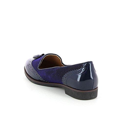 Derbies Richelieu Stil Mokassins Glitzer mit Pompoms Blau - blau