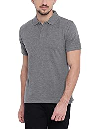 ARISE Solid Men's Polo Neck Charcoal T-Shirt
