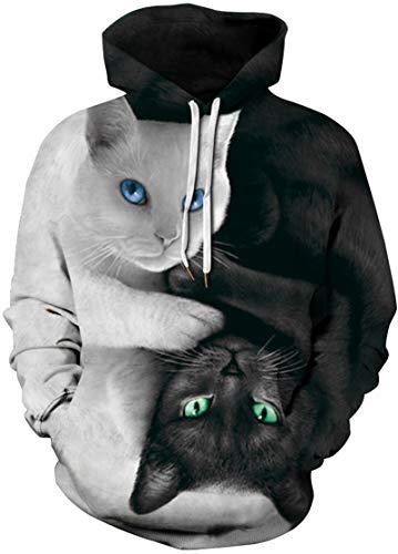 EUDOLAH Damen Pullover 3D Druck Pulli mit Tasche Digitaldruck Pulli mit Aufdruck Galaxy Tier Langarm A-A-Schwarz und Weiß Katzen XXL/XXXL