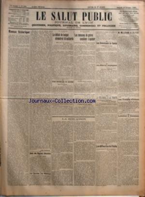 SALUT PUBLIC (LE) [No 259] du 23/10/1920 - ROMAN HISTORIQUE PAR LOUIS MADELIN - DANS NOS REGIONS DEVASTEES - LA SOCIETE DES NATIONS - EN Allemagne LE DEFICIT DU BUDGET ATTEINDRAIT 50 MILLIARDS - CRISE MINISTERIELLE EN Autriche - EN ANGLETERRE LES MENACES DE GREVE SEMBLENT S'APAISER - LES EVENEMENTS DE RUSSIE - AU MAROC ESPAGNOL - LA Belgique ET LE TRAITE - LES DIFFICULTES DE L'ITALIE - M MILLERAND A L'ELYSEE - LES TROUBLES D'IRLANDE - LYAUTEY A OUEZZAN - LA SITUATION