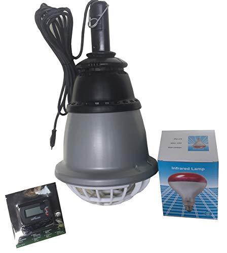 Montidistribuzione Riflettore Riscaldatore Aladino 250 Diametro cm 23 x H 49 Cavo da Metri 2,5 in Omaggio 1 Lampada ad Infrarossi da 150W e 1 Termometro Digitale con Sensore