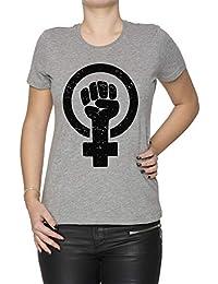 Feminista Elevado Puño - Afligido Mujer Camiseta Cuello Redondo Gris Manga Corta Todos Los Tamaños Womens