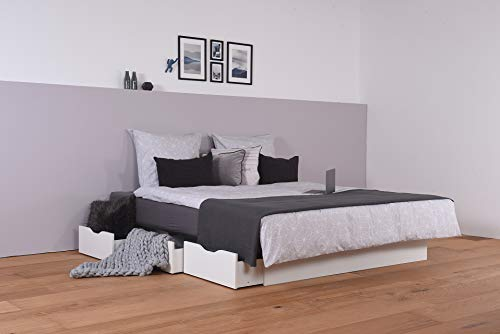 Wasserbett mit Schubkästen + Laken freistehend (200 x 220 cm, Starke Beruhigung)