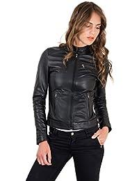 D'Arienzo - GIULIA • colore nero • giacca biker in pelle nappa effetto liscio