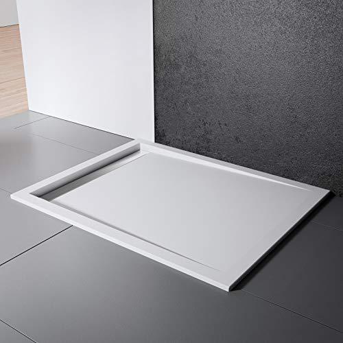 Schulte Duschwanne 90x120 cm, Rechteck extra-flach 2,5 cm, Sanitär-Acryl alpin-weiß, inkl Ablauf mit Rinnenabdeckung chrom-optik und Füßen