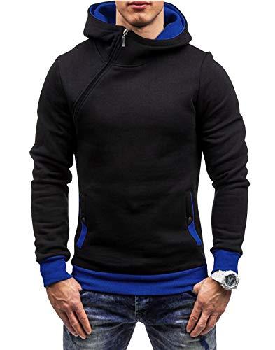 Yidarton Herren Kapuzenpullover Slim Fit Hoodie Sweatshirt Hooded Pullover (Schwarz Blau, Large)