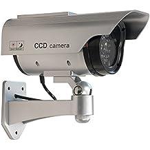 Wasserdichte Dummy Kamera mit Solar - CCD Camera Fake Überwachungskamera mit LED Sicherheitskamera als Attrape, silber