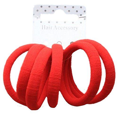 Set da 6, colore: rosso-elastici per capelli, senza elastici per capelli
