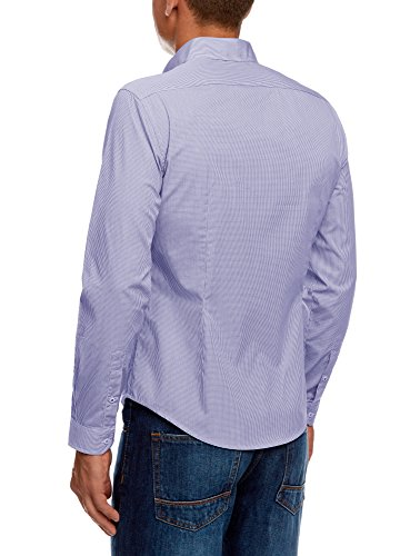 oodji Ultra Herren Tailliertes Hemd mit Geometrischem Druck Blau (1075C)