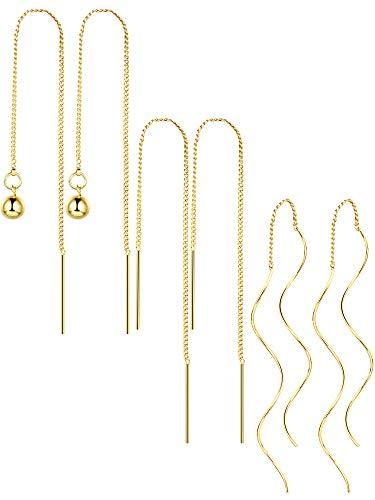 3 Paar Quaste Threader Baumeln Ohrringe Lange Kette Ohr lineare Ohrring Twisted Drop Ohrring für Frauen Mädchen Gefälligkeiten, 3 Stile (Gold)