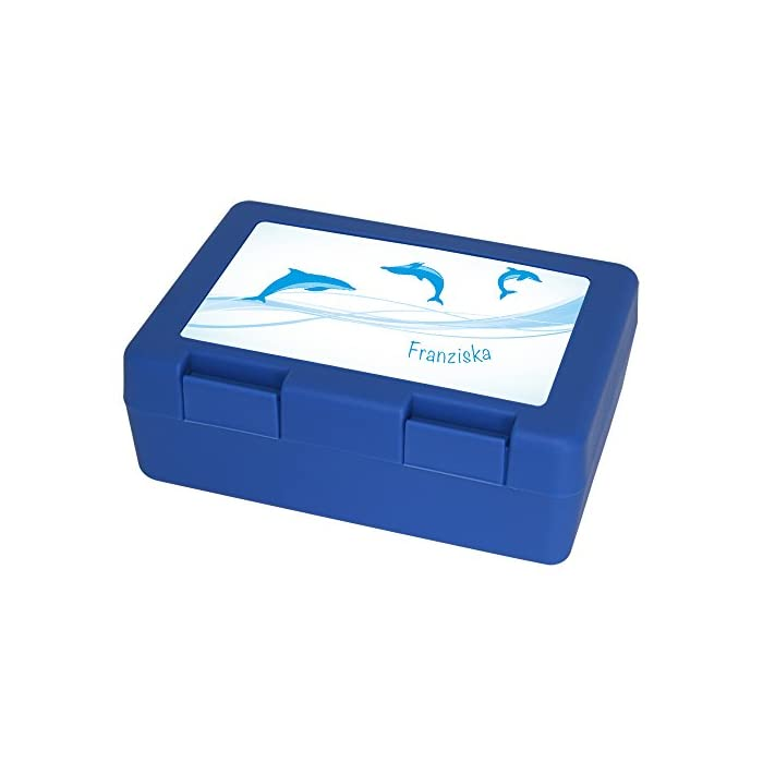 Brotdose mit Namen Franziska und schönem Delfin-Motiv für Mädchen - Brotbox - Vesperdose - Vesperbox - Brotzeitdose mit Vornamen 1