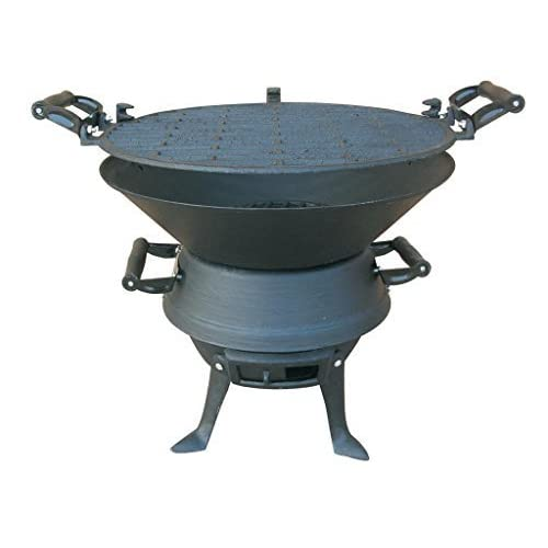 E-Bargains Firepit BBQ Fire Basket Outdoor Barbeque Grill Charcoal Cast Iron Barbecue Stand Bowl Camping Picnic Outfire Wood Log Burner Heater Outdoor Stove Garden Dining