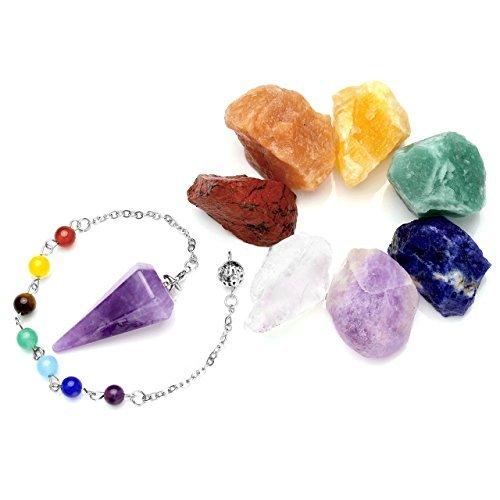 crystaltears Chakra Curación Kit, 7x RAW natural piedras en bruto R