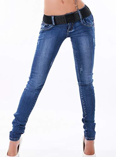 87d2f7339914 Girl Vivi Casual - Cinturón elástico, diseño Vaquero Azul 46