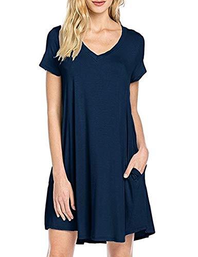Uniquestyle Damen Sommerkleider V Ausschnitt Kurzarm Einfarbig Shirtkleid Strandkleider Longshirt mit Taschen Navy M