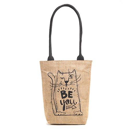 H&B Eco-friendly vintage waterproof jute shoulder bag(Be you,size 11x13x3 inch) (Black)