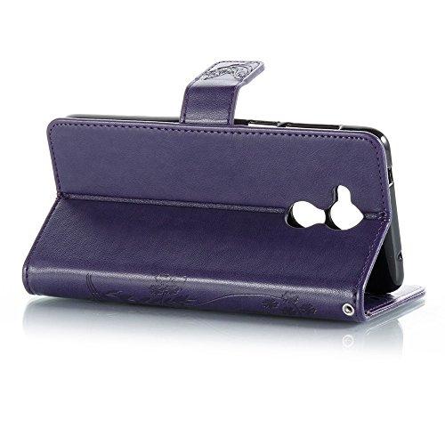 Solid Color Faux Leder Bookstyle Brieftasche Stand Case mit geprägten Blumen & Lanyard & Card Slots für Huawei Changxiang 6s und 6C ( Color : Blue ) Purple