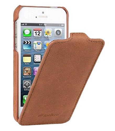 Edle Tasche für Apple iPhone SE , iPhone 5S und iPhone 5 / Case Außenseite aus Echt-Leder / Cover Innenseite aus Textil / Schutz-Hülle aufklappbar / ultra-slim / Flip-Case / Vintage Look / Farbe: Braun (Iphone 5s Braun Leder Flip Case)
