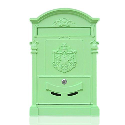 Mei xu letterboxes cassetta postale - lamiera zincata, parete esterna retrò in ferro battuto europeo con serratura a pioggia e cassetta anti-ruggine, adatta per ville, patii, case - quattro colori dis