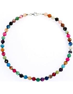 Achat Schmuck (Halskette) Achat Kette bunte Kugeln facettiert mit Perlseide geknotet Verschluss 925er Sterling-Silber
