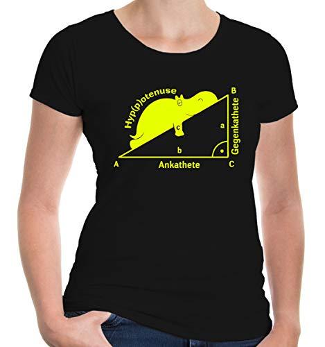 buXsbaum Damen Girlie T-Shirt Hyppotenuse Ankathete Gegenkathete | Winkelfunktion Dreieck Satz Des Pythagoras | M, - Mathe Nerd Kostüm