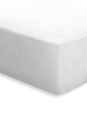 flanell spannbettlaken Schlafgut 003-011 Frottee Stretch Spannbetttuch / 120 x 200 cm, weiss