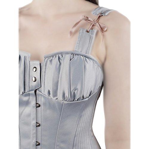 CorsetShow Damen Schultergurte Cincher Taille Training Bauch Shaper Baumwolle Korsett Tops mit Haken & Spitze Blau