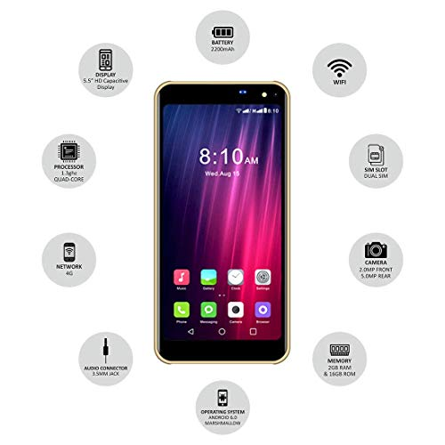 IKALL K8 New 5.45 Inch 4G Android Phone (2GB, Golden)
