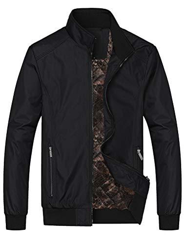 Lavnis Herren Bomberjacke Übergangsjacke Leichte Jacke Casual Mäntel mit Stehkragen Style2 Black L