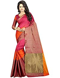 Kiranz Web Store Women's Cotton Silk Saree With Blouse Piece Silk Saree - Kirz Web Store (Pink & Orange Saree)