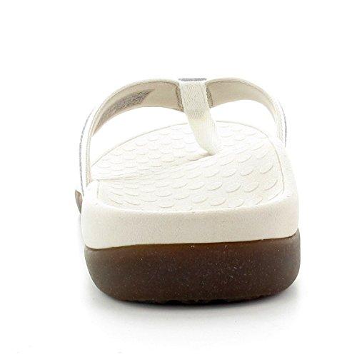 VIONIC Pantolette Islander weiss - Klettverschluss - Super Massagefußbett Weiß