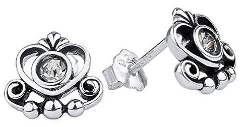 SaySure - 925 Sterling Silver Earrings Clear CZ Heart Crown Stud Earrings