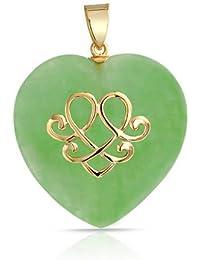 Bling Jewelry Oro Vermeil Nudo de Amor Celta Corazón Colgante Jade Plata