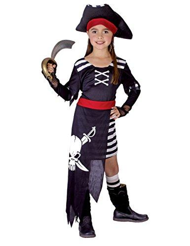 KULTFAKTOR GmbH Kleines Piraten-Mädchen Kinderkostüm Freibeuterin schwarz-Weiss-rot 134/140 (10-12 - Pirate Kostüm Mit Schwarzem Rock