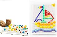 Special Edition 296 Pcs Pegboard Mushroom Nails Jigsaw Peg Puzzle Game With Numbers and Letters Nails