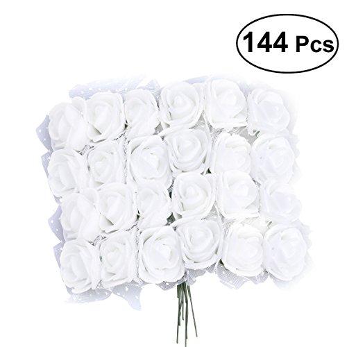 VORCOOL 144 teile / los Künstliche Schaum Rose Blumen Mit Kristall Spitze Hochzeit Brautpartei Bouquet Tischdekoration Gefälschte Blumen DIY Handwerk Kranz Garland Home Hochzeit Anordnung (weiß)