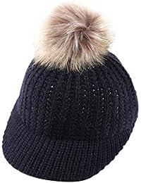 f8171a574 Mitlfuny Niños Niñas Sombreros de Hace Punto de Bebé Invierno Caliente  Casquillo de Bola de Pelo