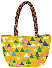 Jute Cottage Unisex Pyramid Design Bag (Yellow, 6 x 10 x 4 Inch)