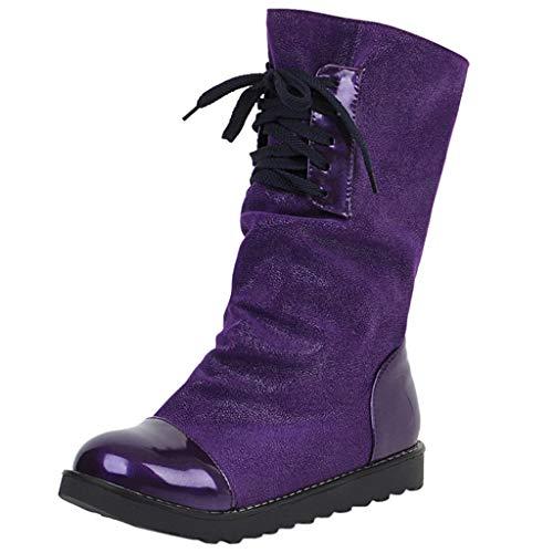 LILIHOT Damen Stiefeletten Mode warme kurze Leder Boot Frauen Lace-Up Kunstleder Patchwork Schuhe Winterstiefel Ankle Kurzschaft Schuhe Frauen Freizeitschuhe (Athleisure Leder)
